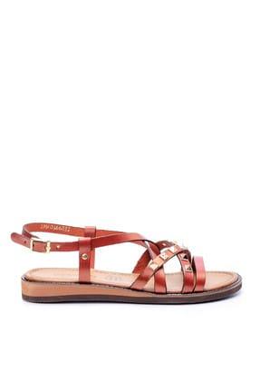 Derimod Hakiki Deri Turuncu Kadın Sandalet