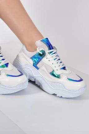 Jeep Beyaz Mavi Metalik Kadın Spor Ayakkabı 9Y2SAJ0015