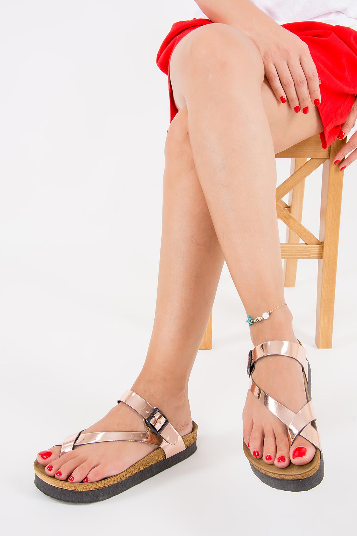 Fox Shoes Bakır Kadın Terlik B777753034 1
