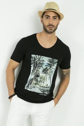 Sateen Men Erkek Siyah Baskılı T-Shirt 160-19218