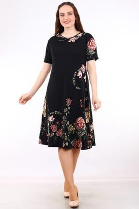Alesia Kadın Siyah Kısa Kollu Desenli Krep Elbise MHMT034