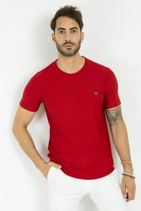 Sateen Men Erkek Kırmızı Bisiklet Yaka Basic T-Shirt 144-7239