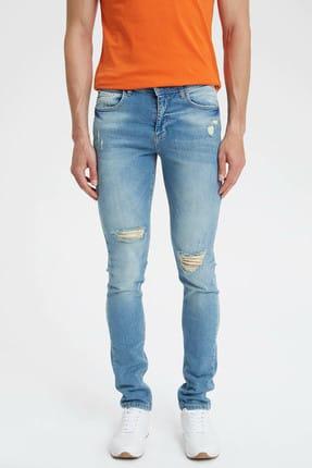 DeFacto Carlo Skinny Fit Düşük Bel Dar Paça Yırtık Detaylı Jean Pantolon