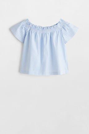 MANGO Kids Ekrü Kız Çocuk Omuzları Açık Koton Bluz 53030748