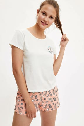 DeFacto Kadın Turuncu Baskılı Şort T-shirt Pijama  K9595AZ.19HS.OG265