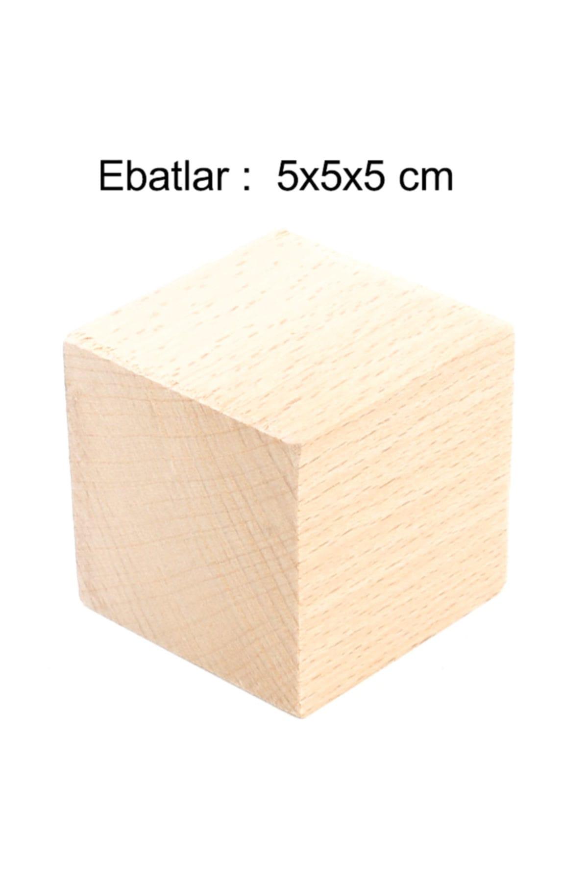 Hobi Dünya Doğal Ahşap Küp Blok 5 cm 3 adet 2