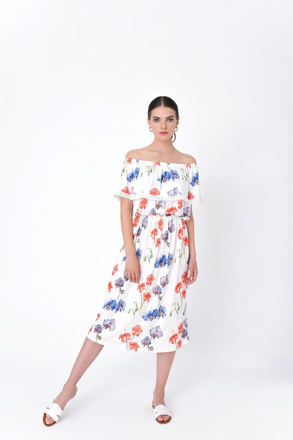 Hanna's by Hanna Darsa Kadın Beyaz Kayık Yaka Belden Lastikli Çiçek Desenli Elbise HN2016 1