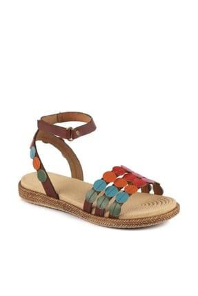 Vicco Kahverengi Puantiye Desenli Deri Sandalet