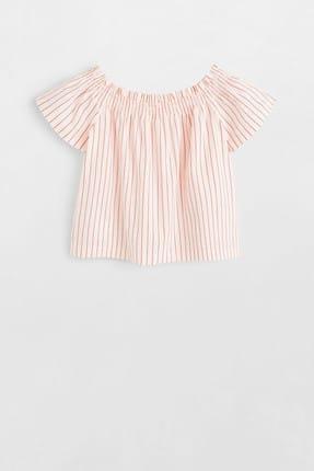 MANGO Kids Beyaz Kız Çocuk Omuzları Açık Koton Bluz 53030748