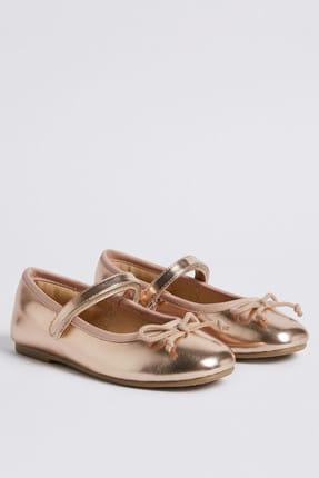 Marks & Spencer Kız  Çocuk Fiyonk Detaylı Metalik Renkli Ayakkabı