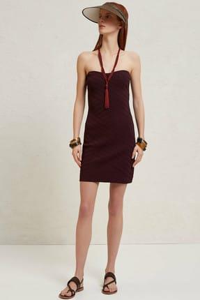 Yargıcı Kadın Mürdüm Mini Örme Elbise 9YKEL7134X
