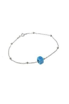 Söğütlü Silver Kadın Gümüş Turkuaz Taşlı Top Top Bileklik SGTL8518-RODAJ