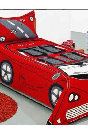 Çeyiz Diyarı Kırmızı Arabalı Tek Kişilik Yatak Örtüsü