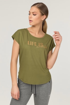bilcee Yeşil Kadın Antrenman T-Shirt FS-3610