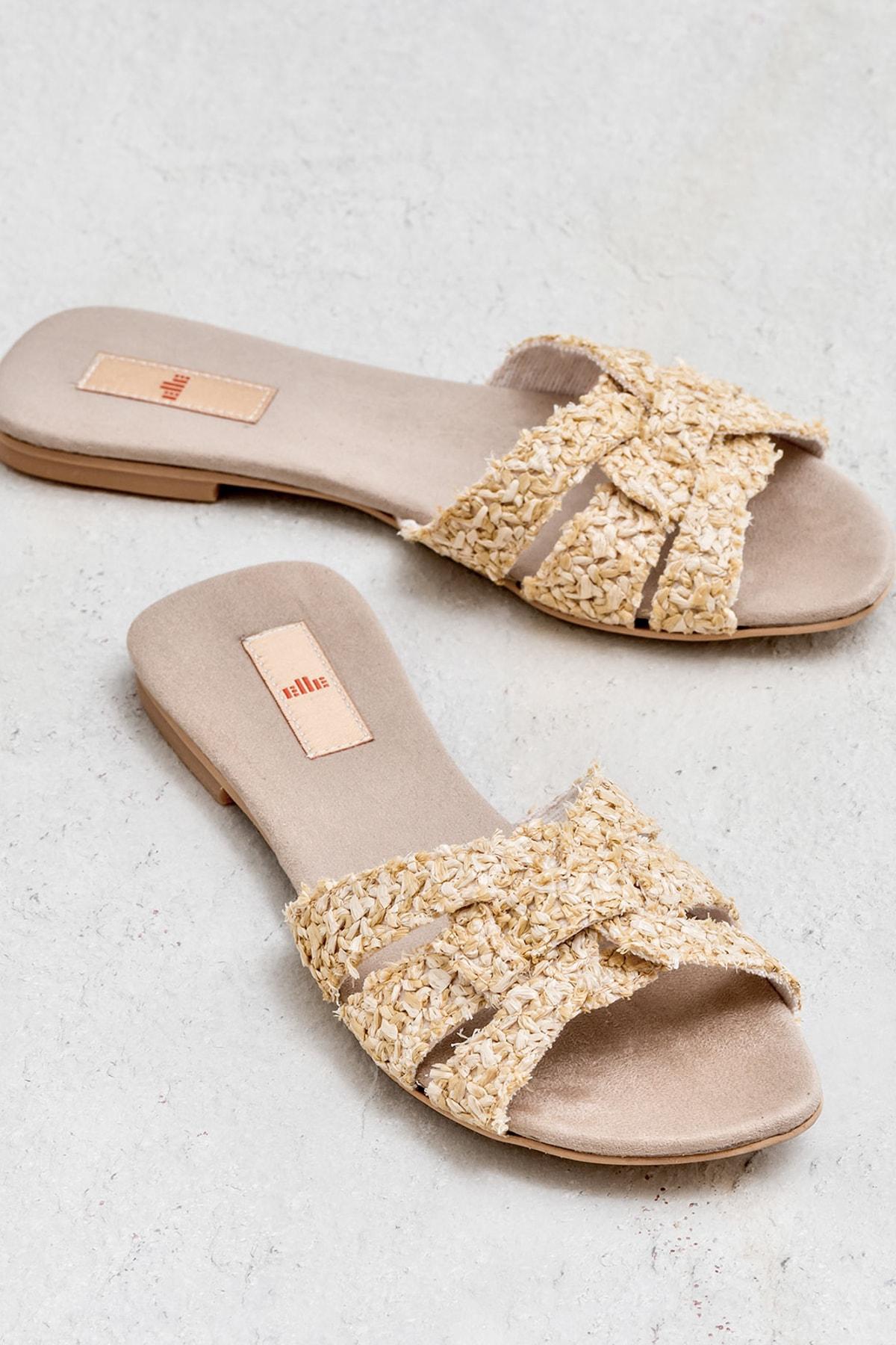 Elle Shoes TANZI Naturel Kadın Terlik 1