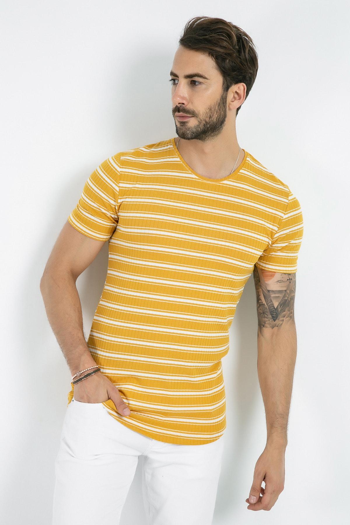Sateen Men Erkek Sarı-Beyaz Biyeli Basic T-Shirt 131-9039 131-9039