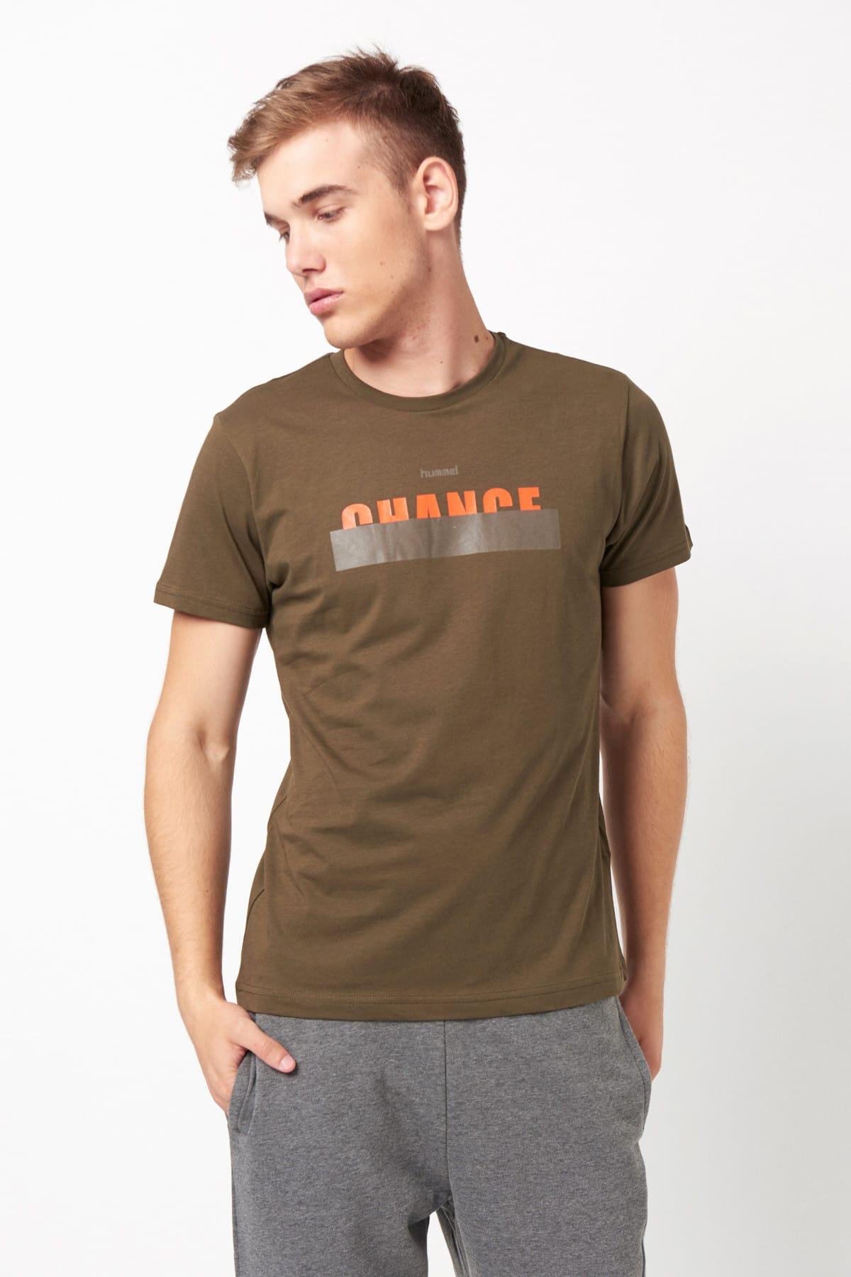 HUMMEL HMLENZO  T-SHIRT S/S TEE Koyu Haki Erkek T-Shirt 100579829 1