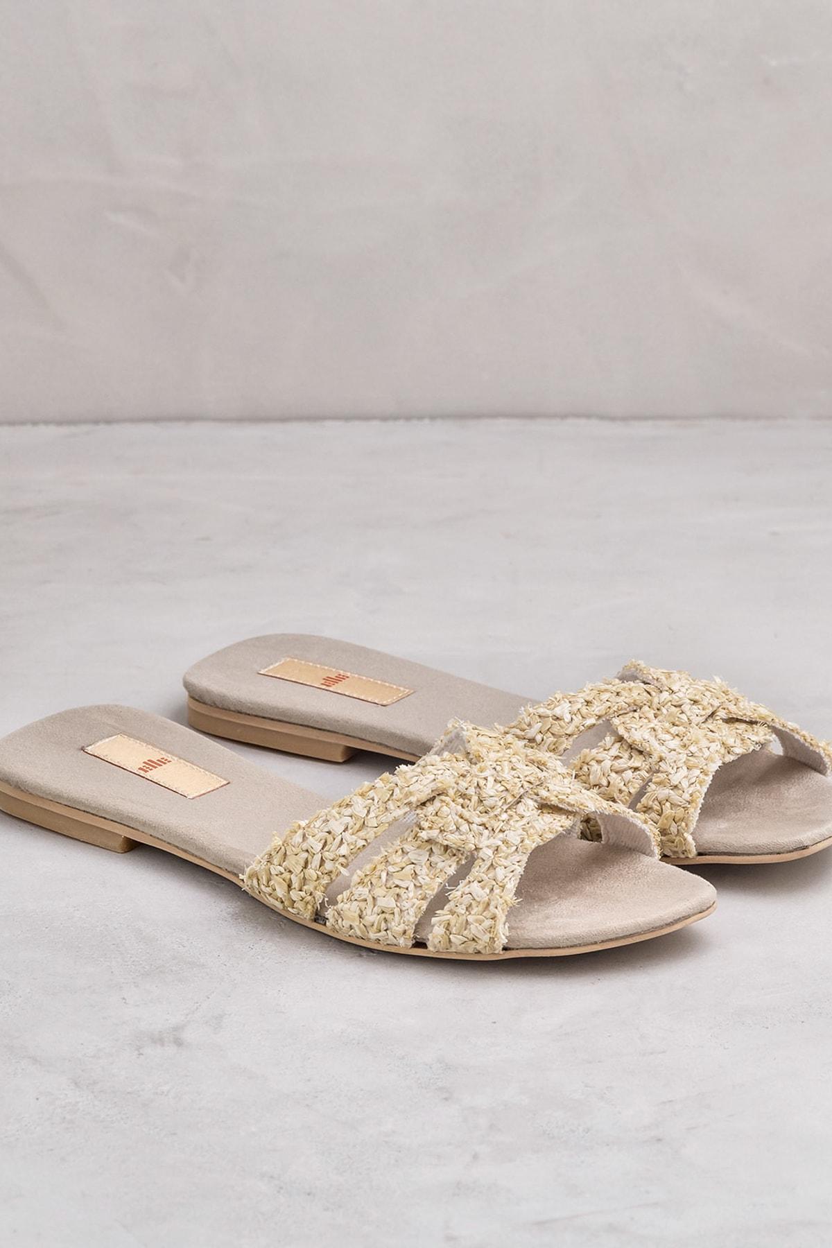 Elle Shoes TANZI Naturel Kadın Terlik 2