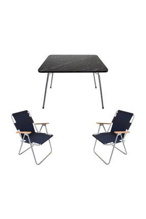 Bofigo 60x80 Granit Katlanır Masa + 2 Adet Katlanır Sandalye Kamp Seti Bahçe Balkon Takımı Lacivert