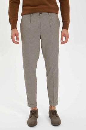 DeFacto Erkek Kahverengi Crop Standart Fit Dokuma Pantolon L6543AZ.19AU.BN94