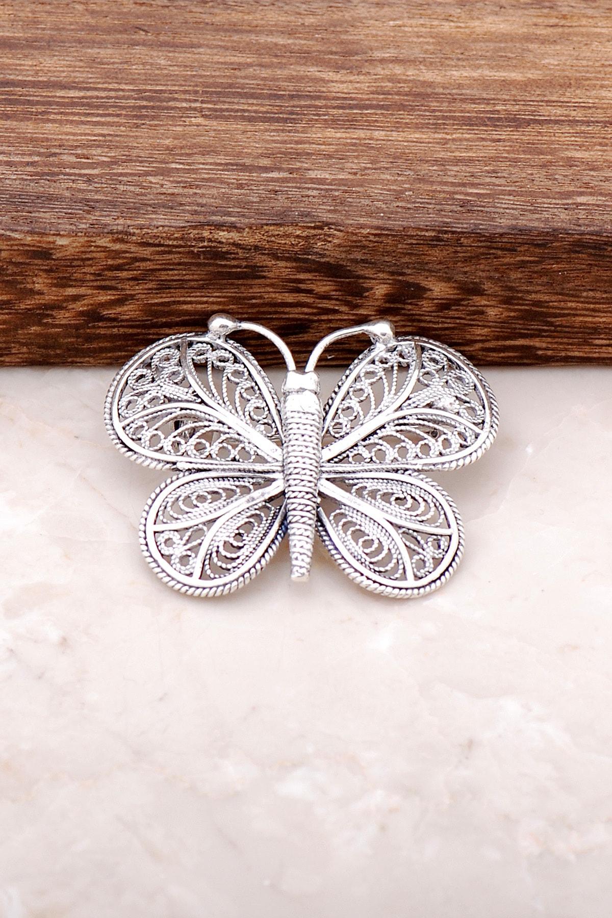 Sümer Telkari Telkari İşlemeli Kelebek Tasarım Gümüş Broş 288 1