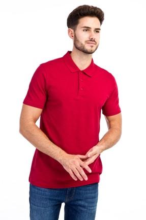Kiğılı Erkek Kırmızı Polo Yaka Düz Slimfit T-Shirt - 9093