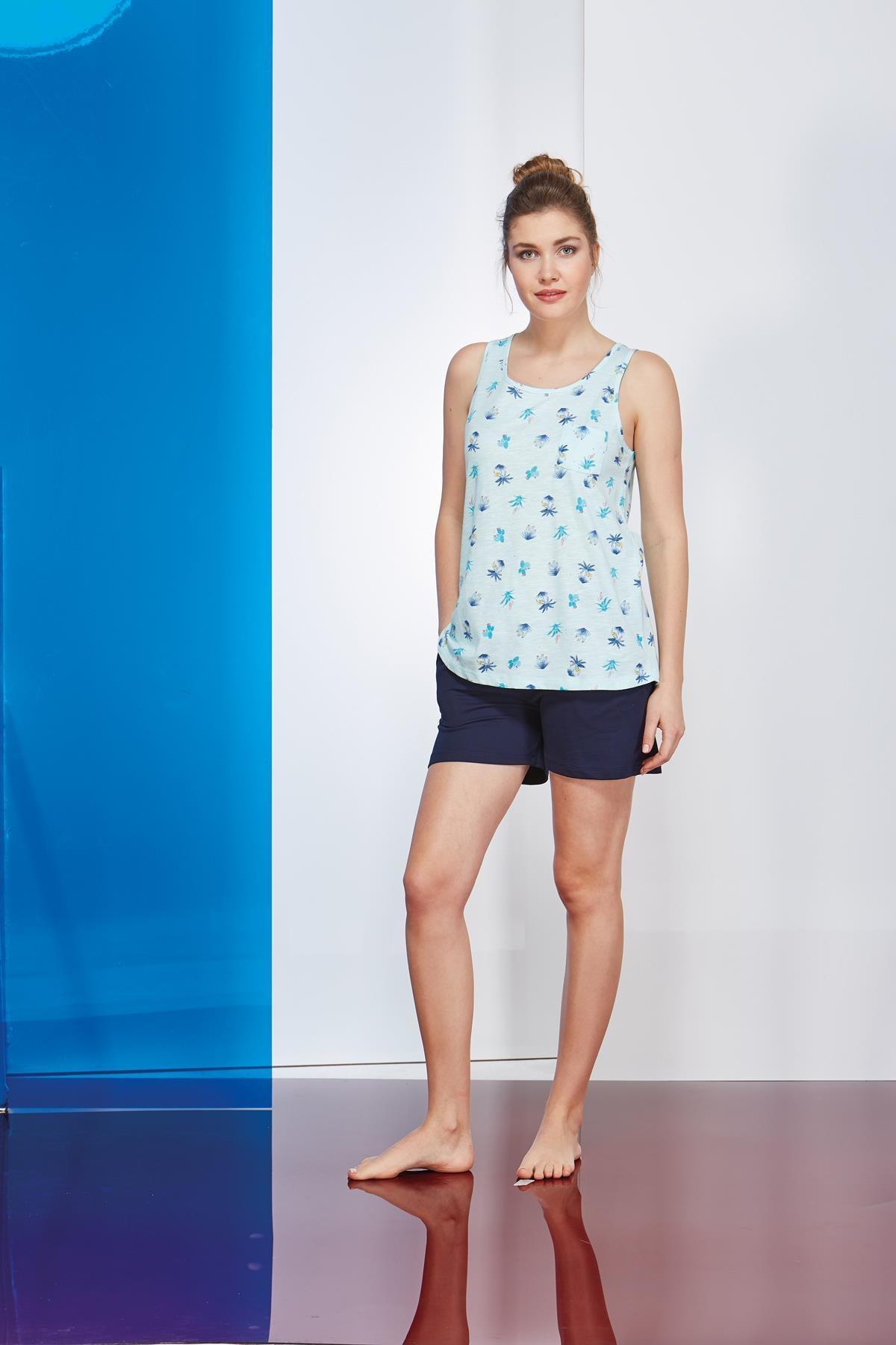 PJS Kadın Mavi Askılı Empirme Desenli Şort 2 Li Takım 20646
