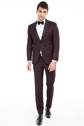 Kiğılı Erkek Bordo Slim Fit Mono Yaka Takım Elbise