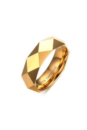 Chavin Unisex Parlak Aynalı Gold Tungsten Yüzük dm77