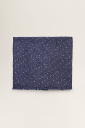 MANGO Man Erkek Lacivert Mini Paisley Desenli Şal 53103023