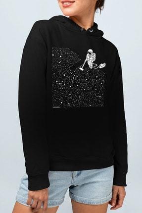 Rock & Roll Süpürgeli Astronot Siyah Kapşonlu Kadın Sweatshirt