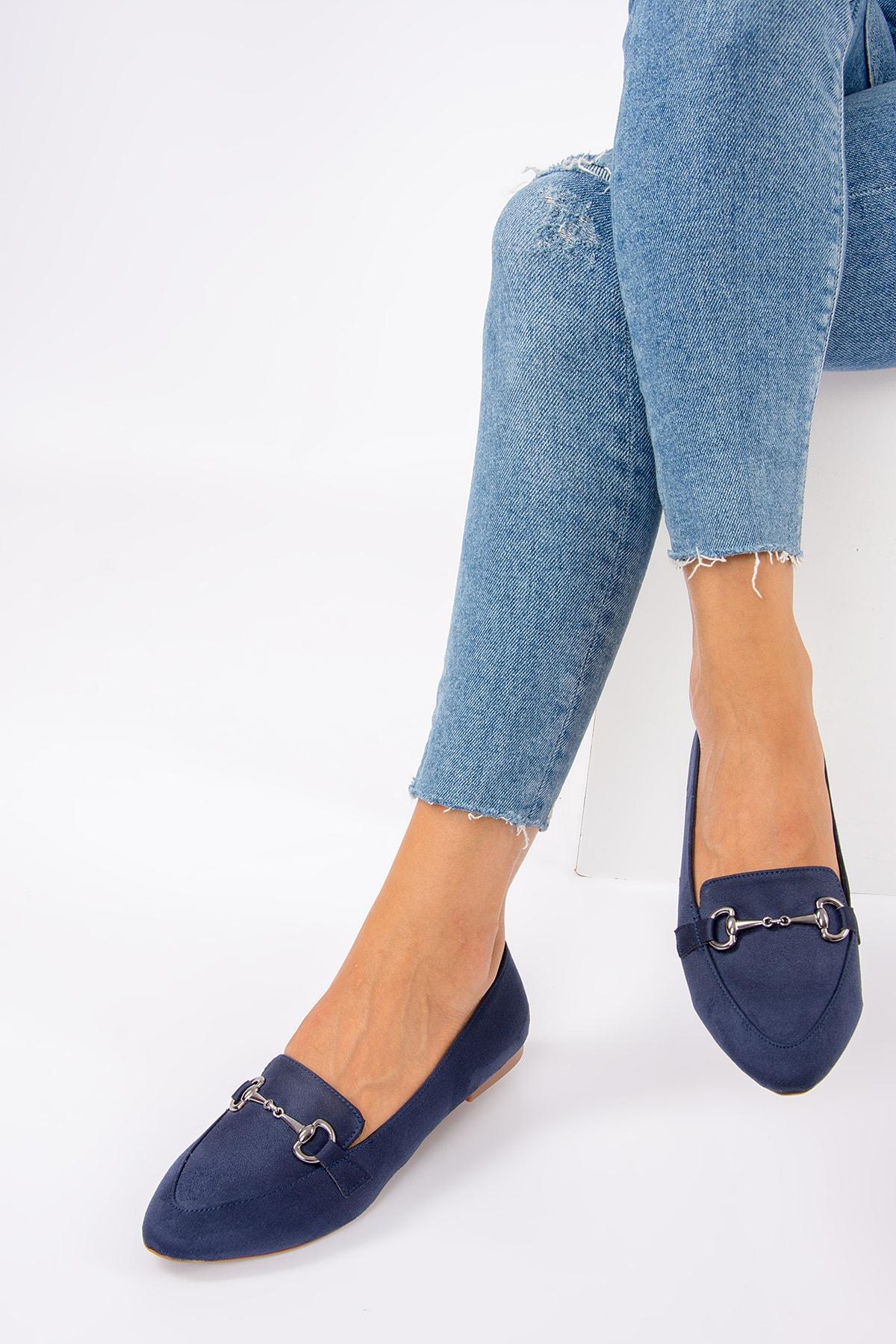 Fox Shoes Lacivert Kadın Babet G290010002 1
