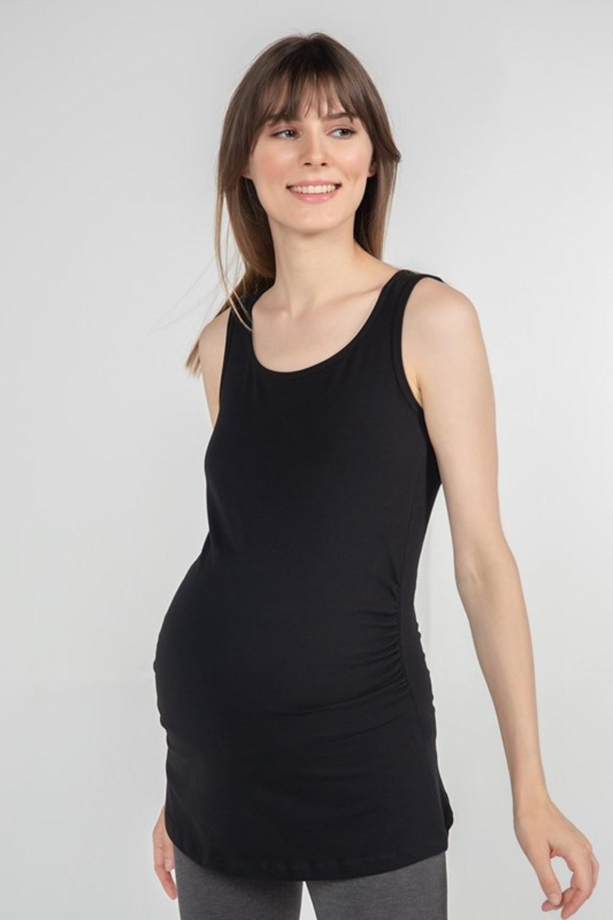 FUNNA MAMMA Atlet Yaka Hamile T-Shirt - Alda- Siyah 2