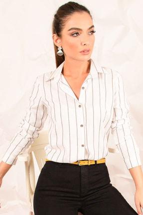 armonika Kadın Beyaz Uzun Kol Çizgili Gömlek ARM-20K001026