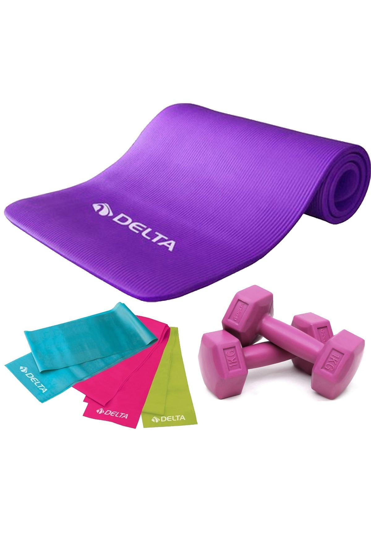 Delta 1 Cm Pilates Minderi, 3 Lü Pilates Bandı Plates Lastiği, 1 Kg x 2 Adet Dambıl