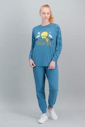 TWEETY Kadın Petrol Lisanslı Pijama Takım