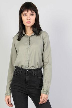 Colin's KADIN Slim Fit Shirt Neck Kadın Haki Uzun Kol Gömlek CL1048680