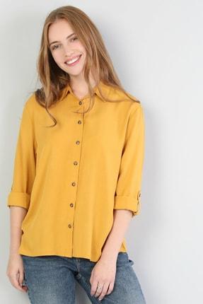 Colin's Regular Fit Shirt Neck Kadın Safran Uzun Kol Gömlek