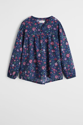 MANGO Kids Lacivert Kız Çocuk Çiçekli Bluz 57085943