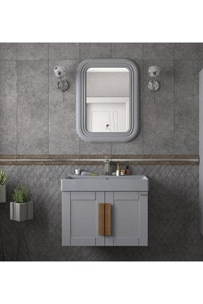 Pierre Cardin Pio 70 cm Matt Anthracite Banyo Dolabı Mat Antrasit Ahşap Kulplu