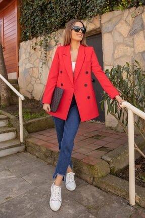 Moda Bu Kadın Kırmızı Siyah Düğme Detaylı Blazer Ceket