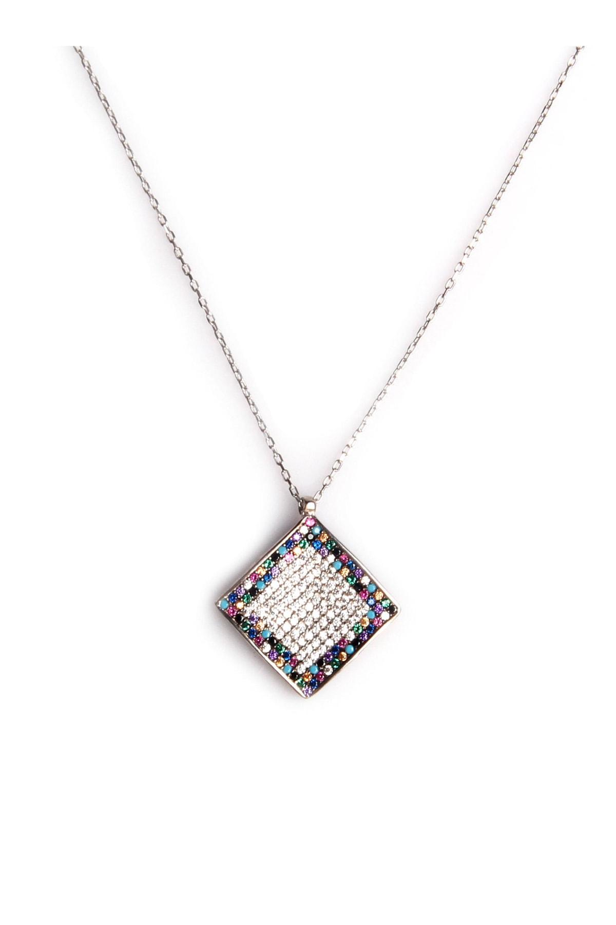 Sahra Renkli Zirkon Süslemeli Tasarım 925 Ayar Gümüş Kolye KLY-0066-37 1