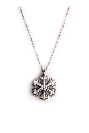Sahra Zirkon Süslemeli Kar Tanesi Tasarım 925 Ayar Gümüş Kolye KLY-0066-26