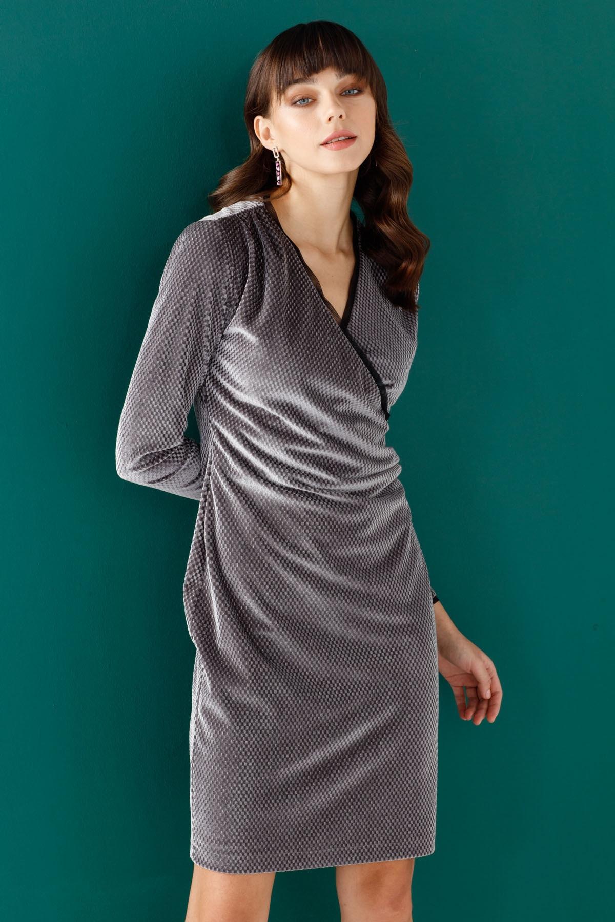 Ekol Kadın Gümüş Kruvaze Elbise 20K.EKL.ELB.01081.1