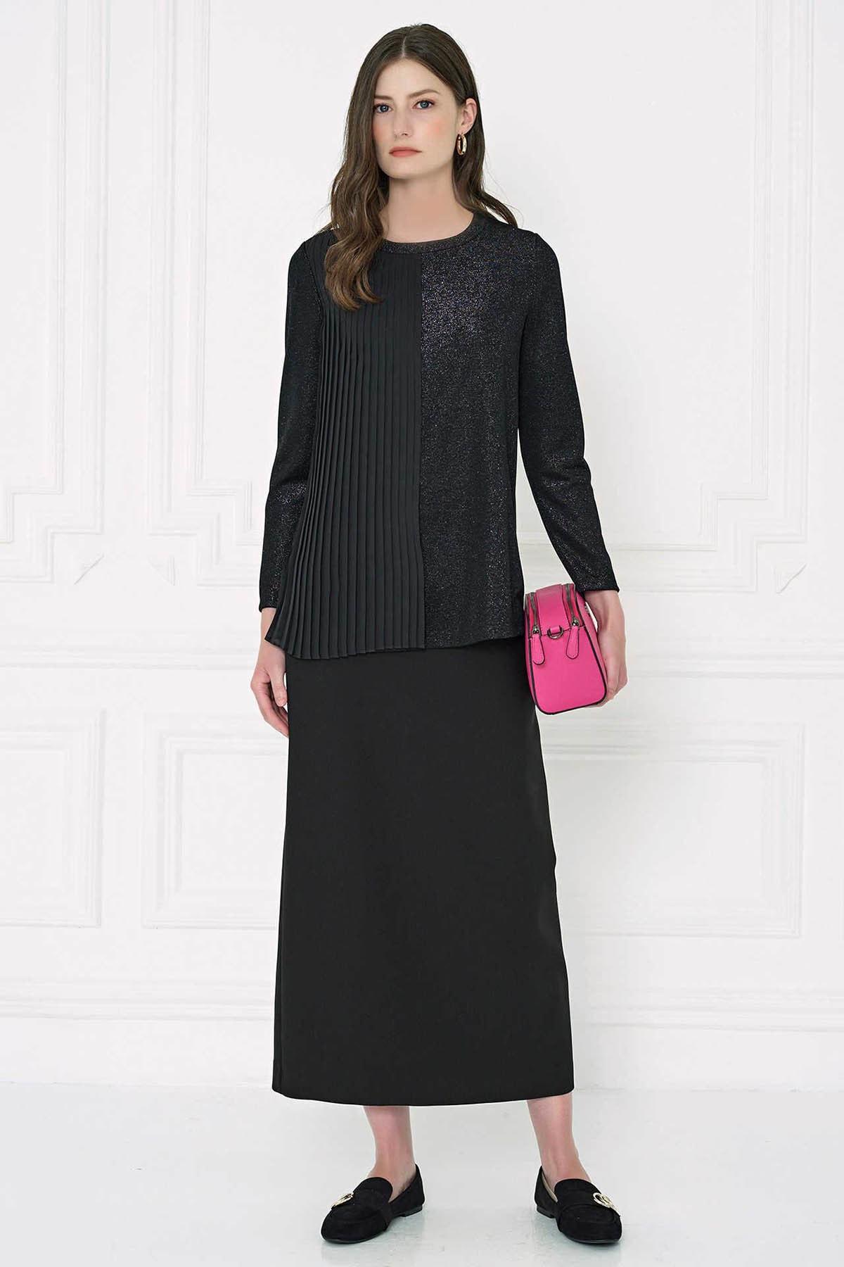 Aker Kadın Siyah Piliseli Simli Bluz U22219710 20K022219710-002