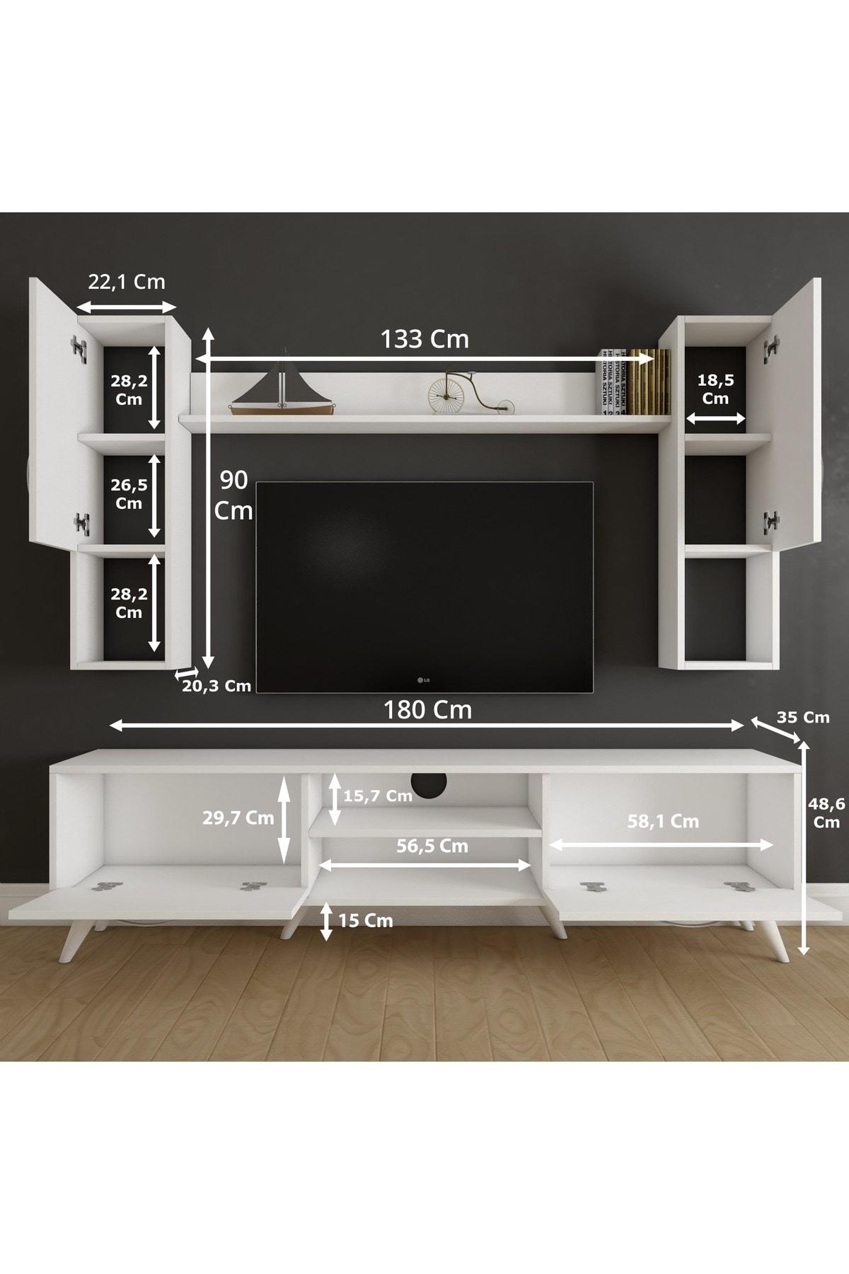 Rani Mobilya A9 Duvar Raflı Kitaplıklı Tv Ünitesi Duvara Monte Dolaplı Modern Ayaklı Tv Sehpası Beyaz M27 2
