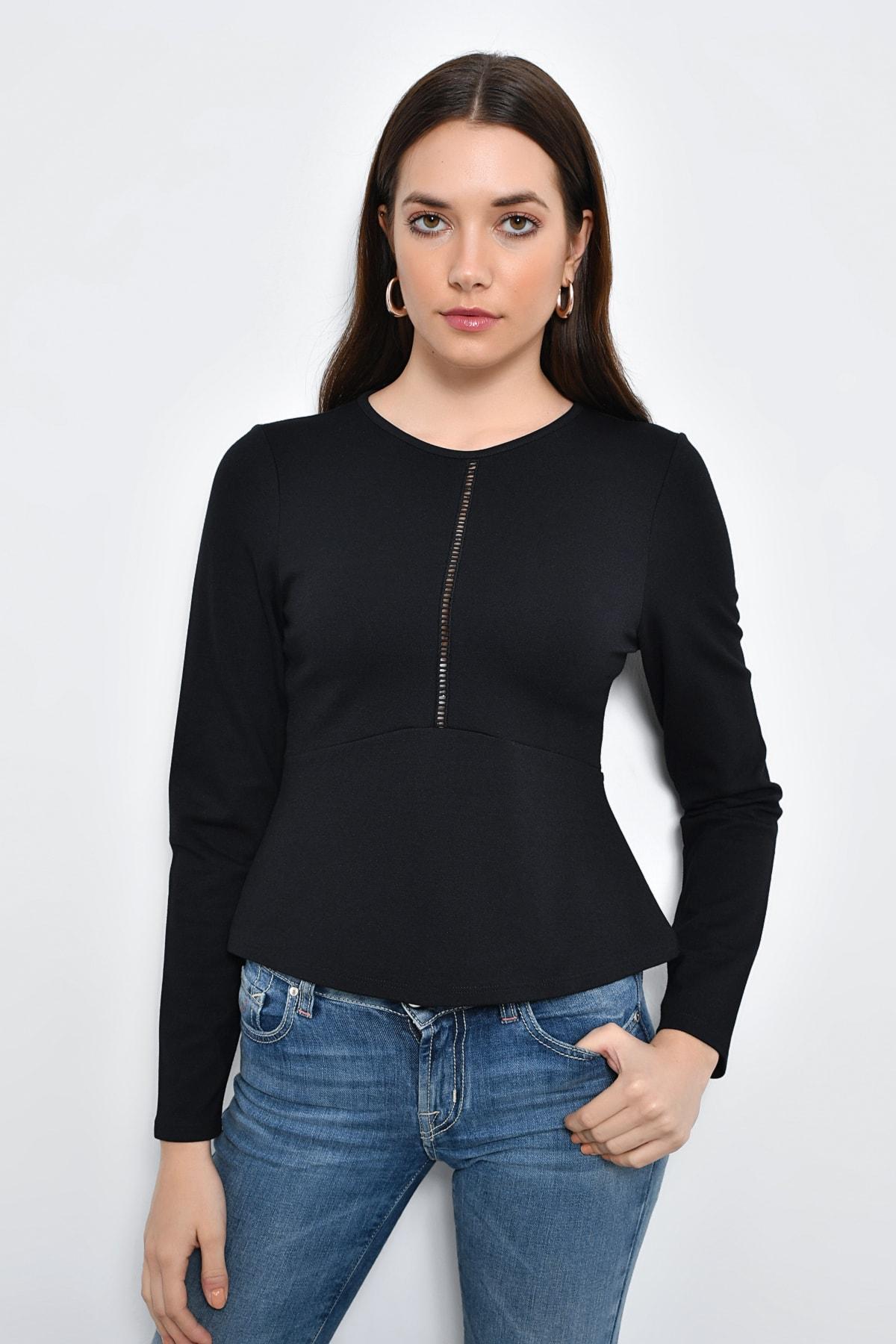 Hanna's by Hanna Darsa Kadın Siyah Uzun Kollu Şerit Detaylı Volanlı Bluz HN2273 1