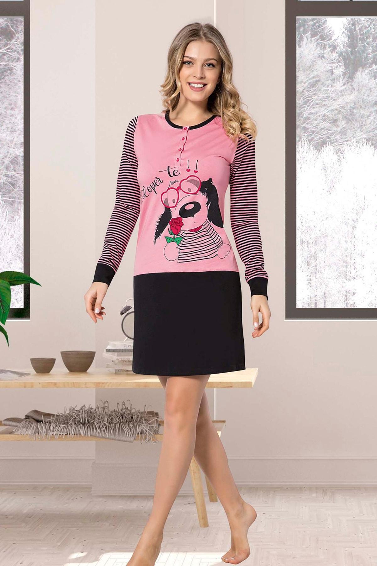 İPEKTENİM TEKSTİL Kadın Somon  Çizgili Elbise