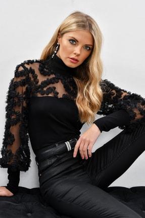 Cool & Sexy Kadın Siyah Kolları Tül Fırfır Aksesuarlı Bluz BK894
