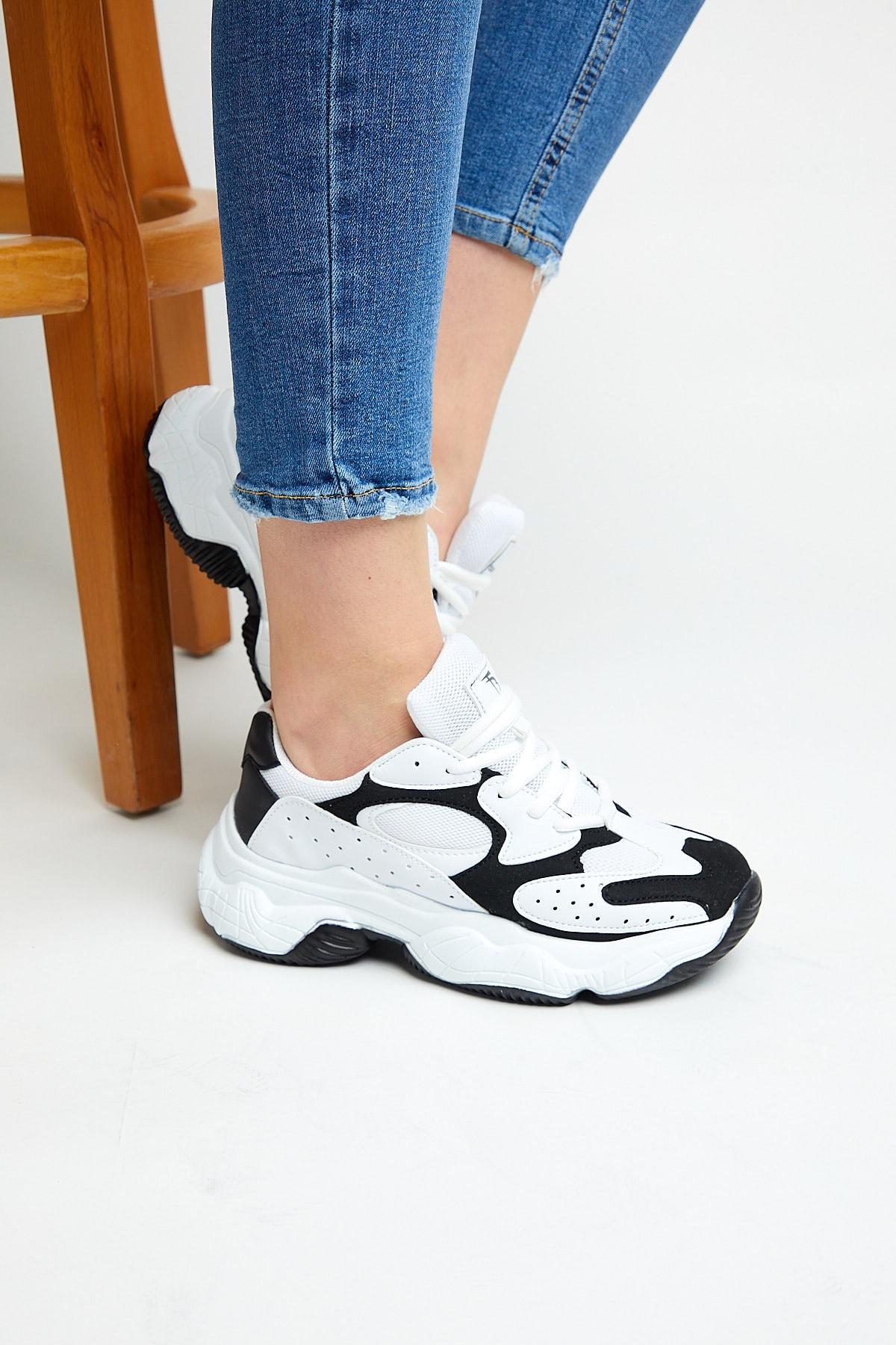 Tonny Black Kadın Beyaz Siyah  Spor Ayakkabı Tb284 1